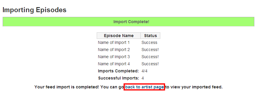 Import Complete Actions