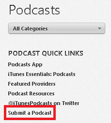 iTunes Submit Podcast Feed Link